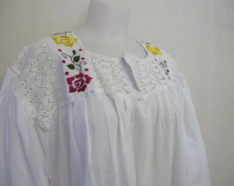 Peasant Blouse Crochet Cotton Embroidered Tunic Blouse Hippie Blouse Plus Size