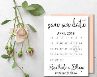 Engagement Card, Best Selling Items, Save the Date Calendar Stamp,  Save the date card, calendar wedding date PRINTABLE save the date