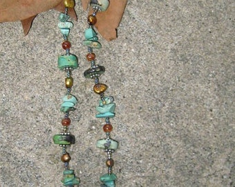 Turquoise, Opal, and Ceramic Bead Necklace