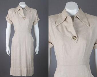 vintage 1950s beige shift dress | Jack Mann