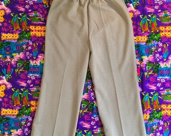 Vintage Brown And White Houndstooth Abstract Patterned Polyester Retro Pants Slacks