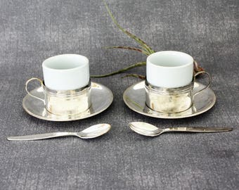Vintage Pair Silver Plated Demitasse Espresso Cup Holders,Saucers, Spoons and Porcelain Cups, Demitasse set, Espresso Cup and Saucer,Coffee