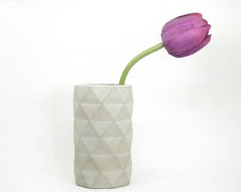 Concrete vase with geometric pattern-modern vase-pen holders-gift-