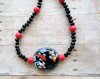 Koi Fish Beaded Necklace, Black Faceted, Coral Beads, Enameled, Hand Painted Focal Bead, Lampwork Bead
