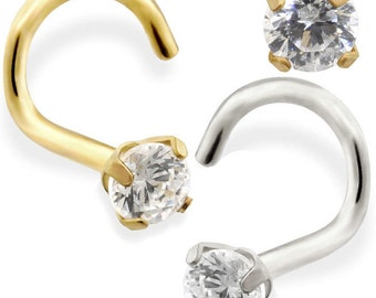 14K Gold Nose Screw with 2mm Clear CZ