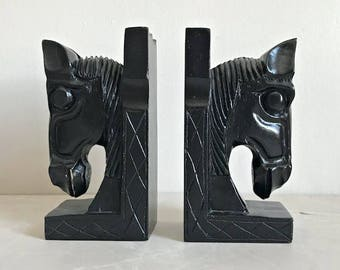 Pair of Vintage Carved Wood Horse Head Bookends, Black, Ebonized Wood, Equestrian, Country Chic