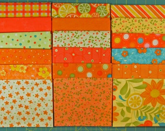 Set of 18 Fat Quarters, Fresh Squeezed by Sandy Gervais for Moda, Orange, Yellow, Green FREE SHIPPING