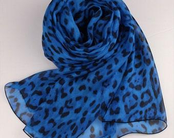 Blue Silk Chiffon Scarf with Leopard Print - Leopard Printed Silk Chiffon Scarf - Animal Print Silk scarf -AS66