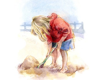 Making sandcastles. Little Giclee print of little girl playing at the Seaside