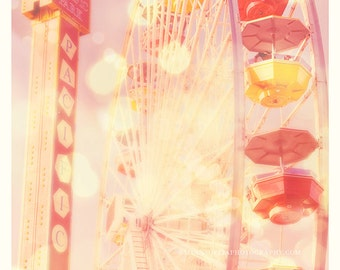 ferris wheel photo, Santa Monica pier, Carnival Lights red yellow pink, baby nursery, kids room California summer beach, LA photography