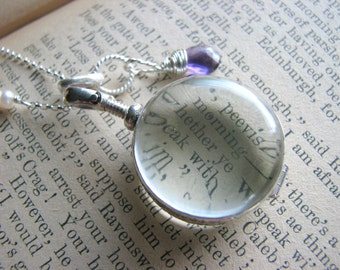 Glass Photo Locket Birthstone Necklace - Round Sterling Silver  - Gift Mother Wife Sister Daughter Best Friend Grandmother