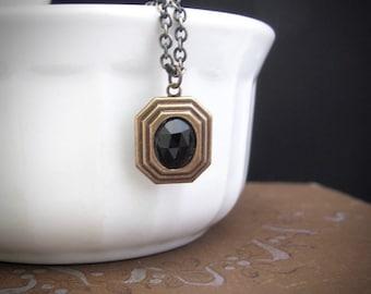 Art Deco Necklace, Black Pendant, Black Necklace, Victorian Style Necklace, Wedding Jewelry, Art Nouveau Necklace, Dainty Petite, Stacking