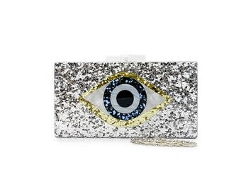Eye Silver Glittered Perspex Clutch Bag