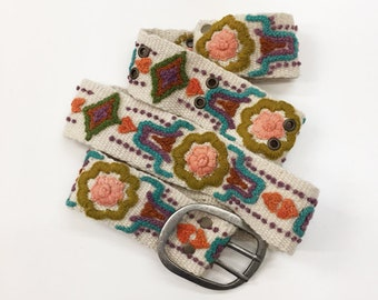 SALE Hand embroidered belt made by Fair Trade artisans in Peru, one each in S, M, L
