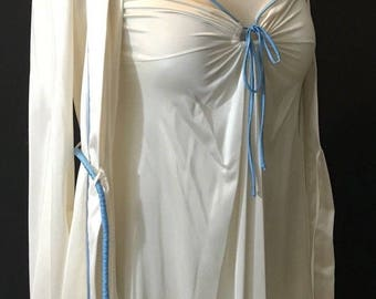 Vintage Vassarette white blue  trim nylon nightgown nightie peignoir robe 32