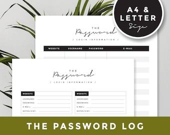 A4 & Letter size Password log: Password Tracker, Password Organizer, Password Keeper, Password Book, Password Printable, Login Information