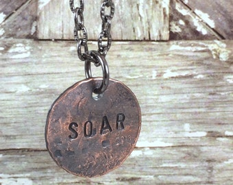 SOAR Penny Charm Necklaces, Good Luck Penny, Bouquet Charm, Coin Charm Necklace, Inspirational Necklace,Gift Idea for mom, daughter, friend