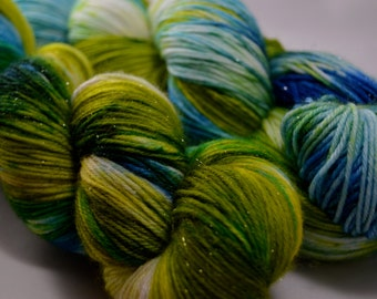 "Dyed on Demand Fingering ""Green Jay"" Hand Dyed Yarn"