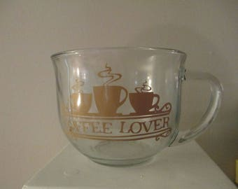 Coffee Lover Glass Mug Cup Gift for Her Bakery Kitchen Home Decor Jenuine Crafts