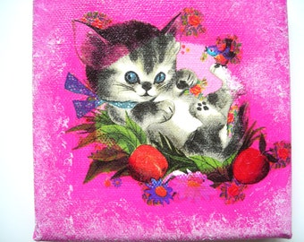 (Board) picture collages (stickings) and acrylic attractive kitten 12 x 12 cms