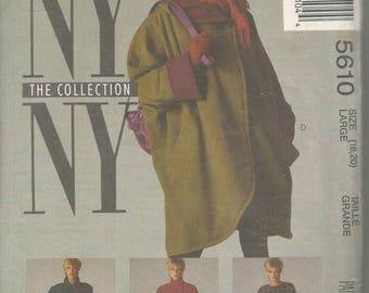 1990s Coat Raincoat Belt Scarf Four Styles Included McCall's 5610 Uncut FF Size Large 18 - 20 Bust 40 - 42 Women's Vintage Sewing Pattern
