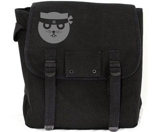 Cat Backpack, Cat Bag, Backpack, Black Backpack, Canvas Backpack, Ninja Kitty, Kid Backpack, Backpack for Women, Diaper Bag, School Backpack