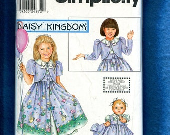 Simplicity 0637 Daisy Kingdom  Dress with Puff Sleeve Bolero  for  Little Girls & Matching Doll Dress  Sizes 3..4..5..6 UNCUT