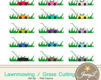Lawnmowing Clipart, Grass Cutting, Lawnmower clipart,  for Planners, Digital Scrapbooking, Invitations, cupcake toppers, Stickers, Labels
