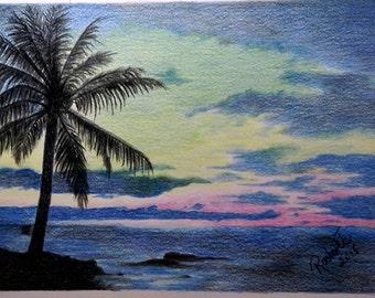 Sunset in Florida - original colored pencil art