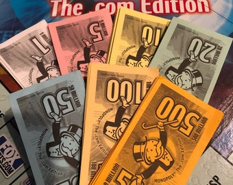Phoney Monopoly Money .COM Version Millions Denominations - Supply, Games, Art Projects, Banking, Ephemera or Replacement Game Supply