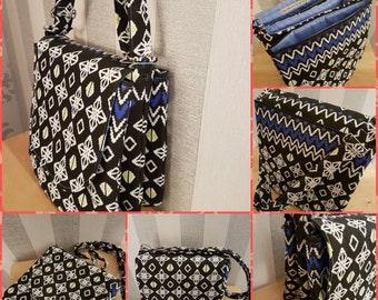 Cross Body Bag/Shoulder Bag/Hipster Bag/Black/White/Blue/Separate Sections/Organiser Bag/Adjustable Strap.