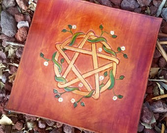 Pentacle Altar Mat - Tooled Leather Altar Mat - Gold Pentacle with Flowering Vines - Pentacle Mat