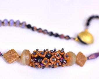 Golden Violet Poppy Necklace