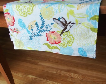 Lime Green Table Runner Centerpiece Runner with Hummingbirds and Flowers in Blue and Peach, Reversible, Tablerunner