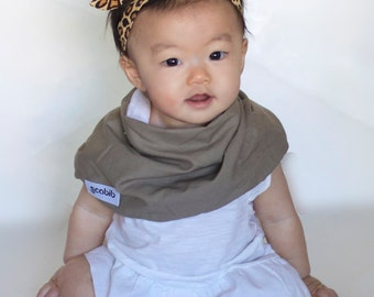 """Modern Bib (Taupe) All in One Scarf & Bib """"Scabib"""" TM for babies or toddlers"""