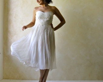 Short Wedding Dress, Tea length wedding dress, Hippie Boho Wedding dress, Alternative Wedding Dress, fairy wedding dress, Handfasting dress