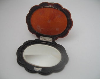Vintage Brown Lucite Compact With Mirror