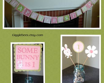 Bunny Birthday Party Package, Happy Birthday Banner, Door Sign and Centerpieces, Bunny Birthday, Bunny Party,