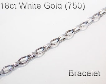 18ct 18k 750 White Gold Link Bracelet Jewellery Fashion Genuine - PS85