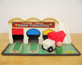 Vintage Fisher Price Dump Truckers Play Set