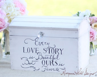 Wedding Card Box Shabby Chic Keepsake Box Bridal Shower Gift Wedding Gift Every Love Story Quote (MHD20047)
