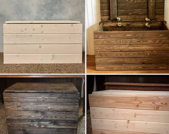Wooden Storage Trunk, Blanket Chest, Rustic With Hinges And Rope Handles