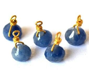 Gorgeous 1 tiny blue Sapphire onion on vermeil wire