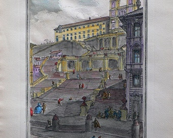 Piranesi - Roma/Italy - Cm. 30 x 57 Inches 11,8 x 22,5 - Printed on high quality paper and water-coloured by hand. Since 1950s