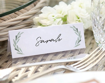 Table Place Cards Folded Rustic Vintage Pretty Green Olive Leaves