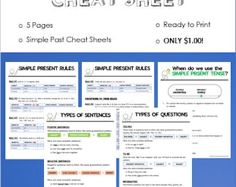 Simple Present Cheat Sheet Reference Guide | 5 Pages | NO PREP