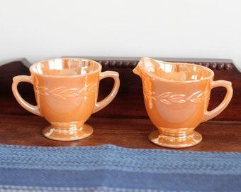 Vintage Anchor Hocking Fire King Peach Lusterware Sugar Bowl and Creamer Set