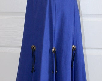 Vintage Cowgirl Western skirt . Dark Blue Cotton High Waist Rodeo County Fair Skirt . Circle T . Beads & Conchos . Size Medium