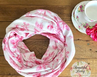 Infinity Scarf | Wrap Scarf | Pink and White Scarf | Floral Scarf | Cotton Flannelette