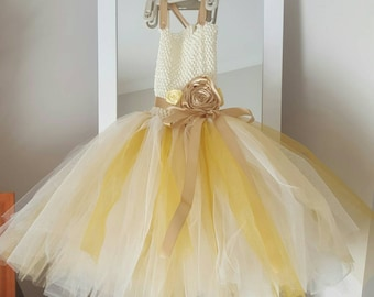 Ivory Gold and Coffee Flower Girl Tutu Dress